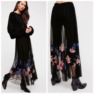 Free People Boho Tulle Maxi Skirt W/Black Legging